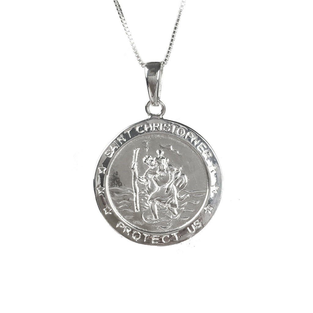 Sterling Silver Round St Christopher Necklace - www.sparklingjewellery.com