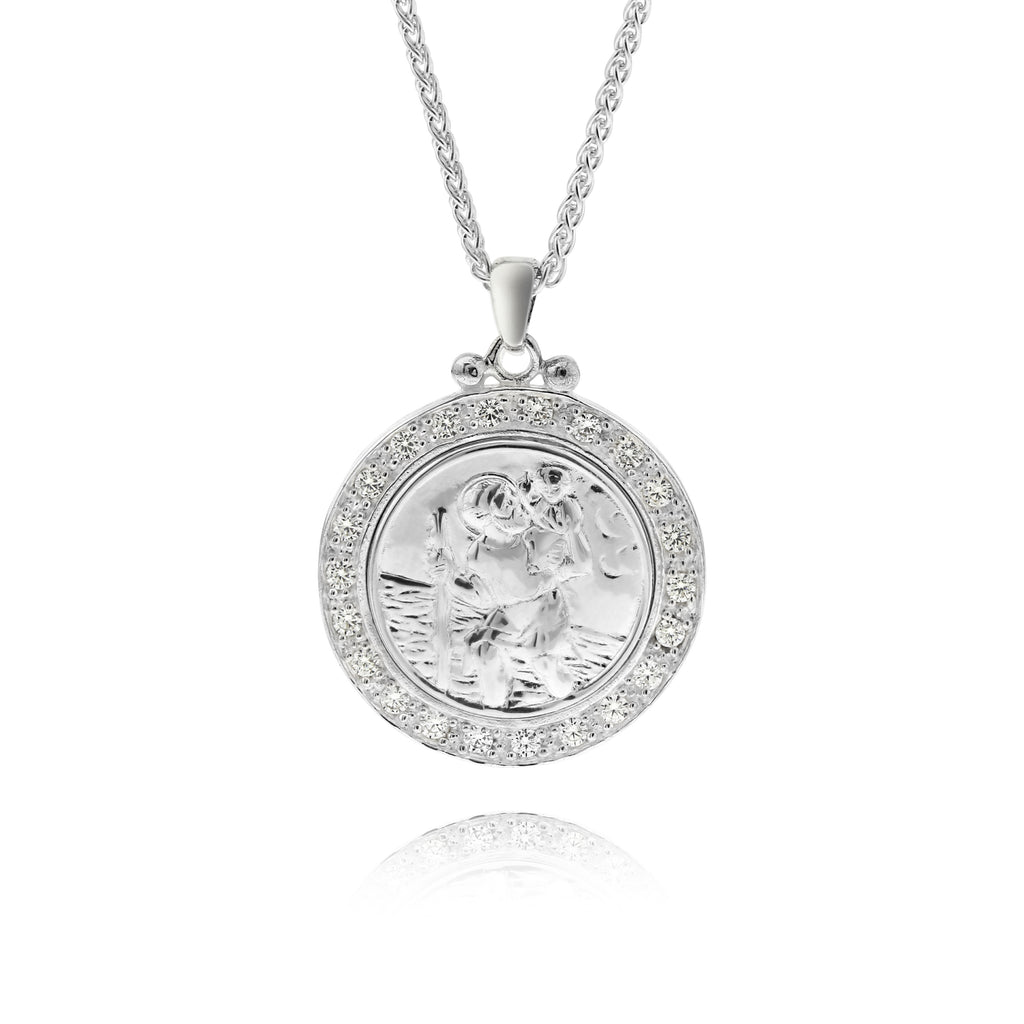 Luxury Sterling Silver St Christopher Necklace - www.sparklingjewellery.com