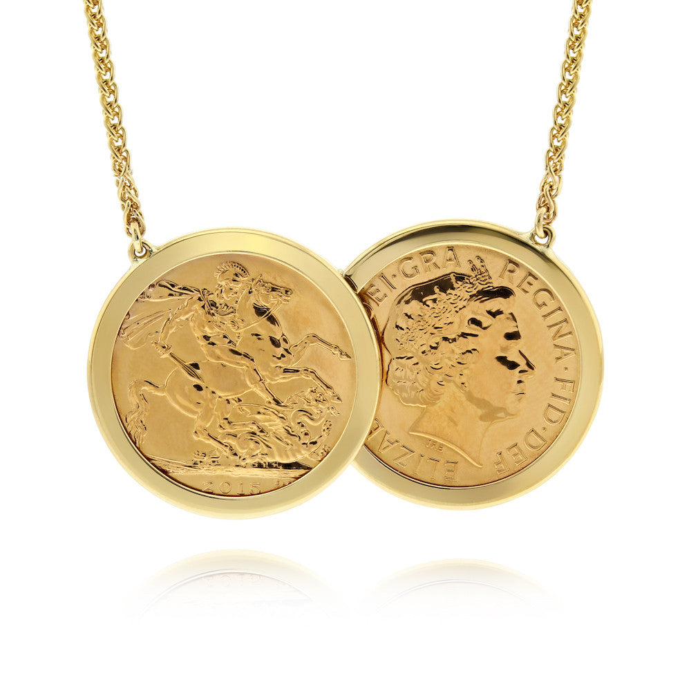Full Sovereign Two Coin Holly Necklace - www.sparklingjewellery.com