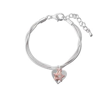 Two Tone Heart and Star Charm Bracelet - www.sparklingjewellery.com