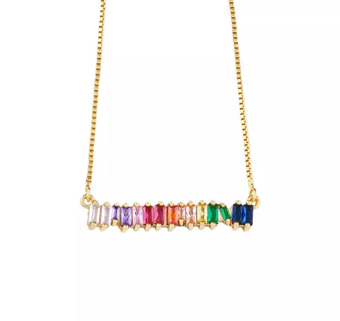 Rainbow 🌈 Gem Necklace - www.sparklingjewellery.com