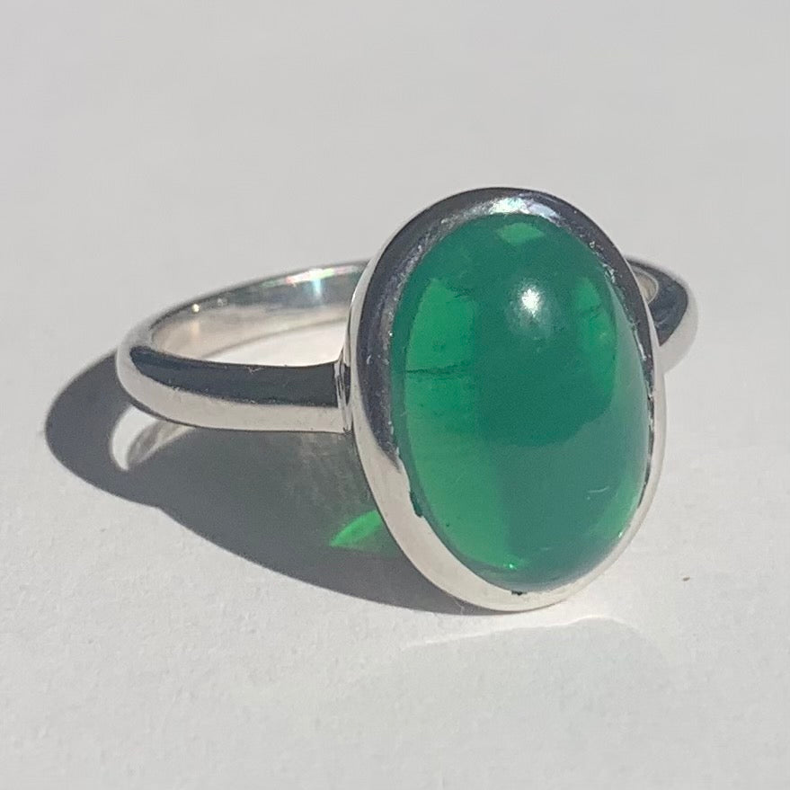 Green Agate Silver Ring - www.sparklingjewellery.com