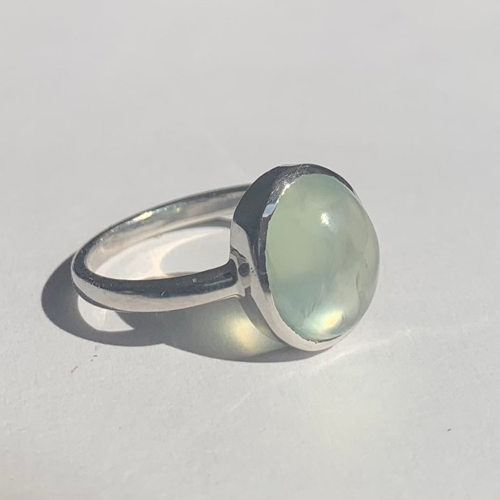 Oval Cut Moonstone Cabochon Silver Ring - www.sparklingjewellery.com