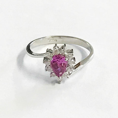 Pink Sapphire and Diamond Pear Cut Ring 18ct Gold