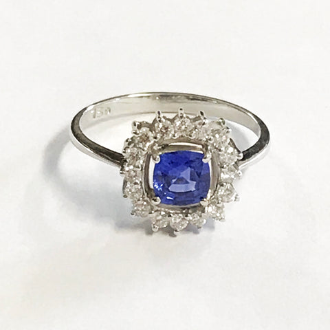 Cornflower Blue Sapphire and Diamond Halo Ring 18ct White Gold - www.sparklingjewellery.com