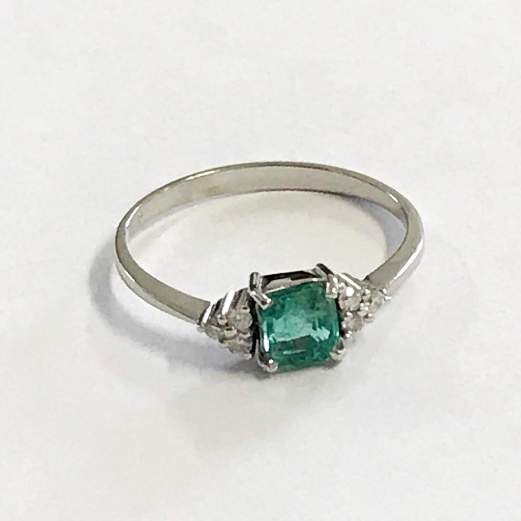 Real Emerald and Diamond 18ct White Gold Ring - www.sparklingjewellery.com