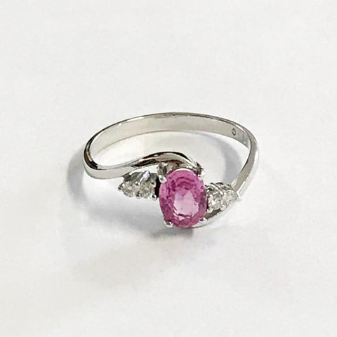 Pink Sapphire Diamond 18ct Gold Ring - www.sparklingjewellery.com