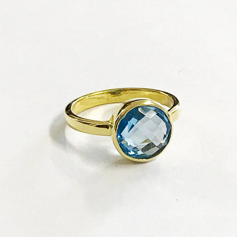 London Blue Topaz Bezel Gold Vermeil Ring