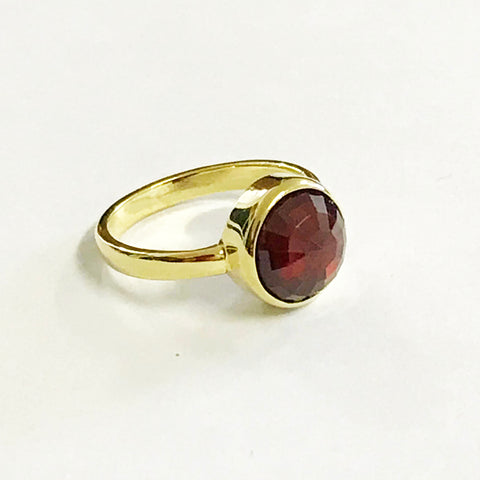 Garnet Stacking Ring Gold Vermeil