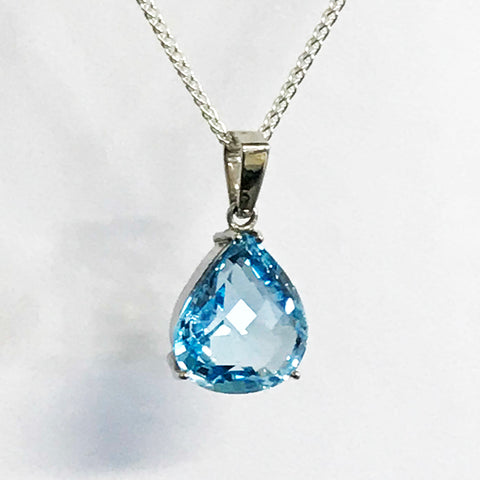 London Blue Topaz Pear Cut Pendant - www.sparklingjewellery.com