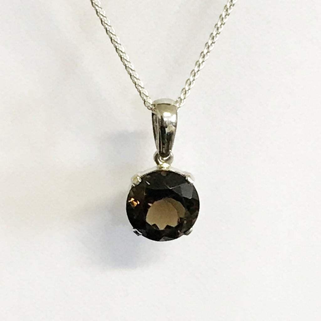 Smokey Quartz Round Gemstone Necklace - www.sparklingjewellery.com