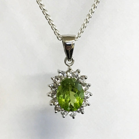 Peridot and White Topaz Necklace Real Gemstone
