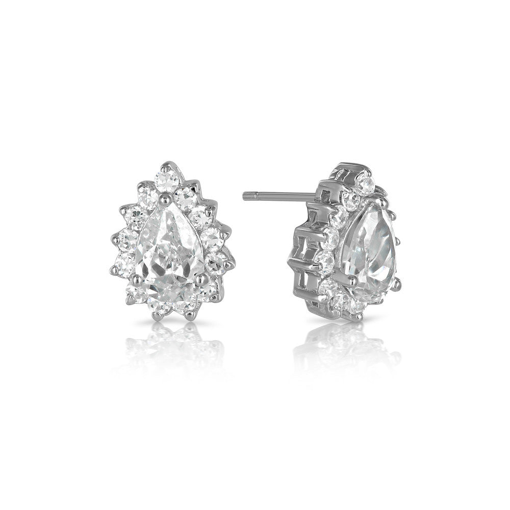Sterling Silver Katie Price Tear Drop Earrings - www.sparklingjewellery.com