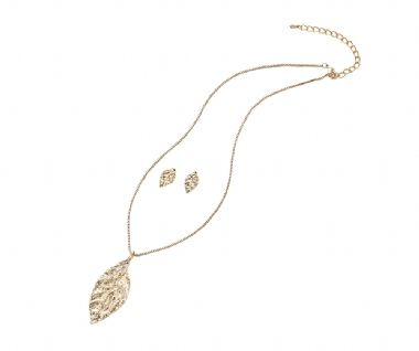 Leaf Necklace and Earring Set in Gold