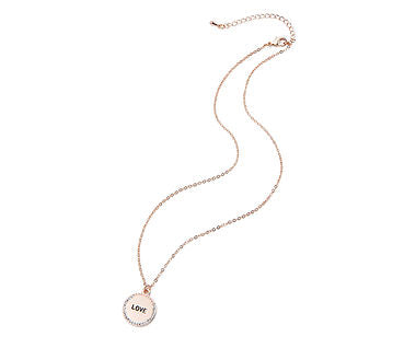 Love Disc Necklace Rose Gold - www.sparklingjewellery.com