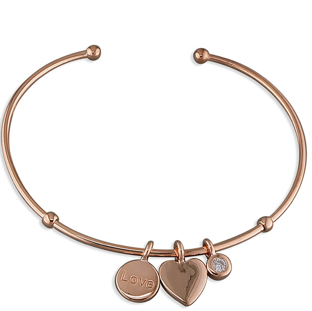 Rose Gold Vermeil Sterling Silver Bangle Limited Edition - www.sparklingjewellery.com