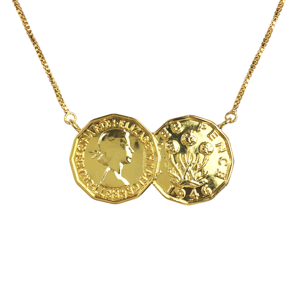Three Penny Two Coin Necklace - www.sparklingjewellery.com