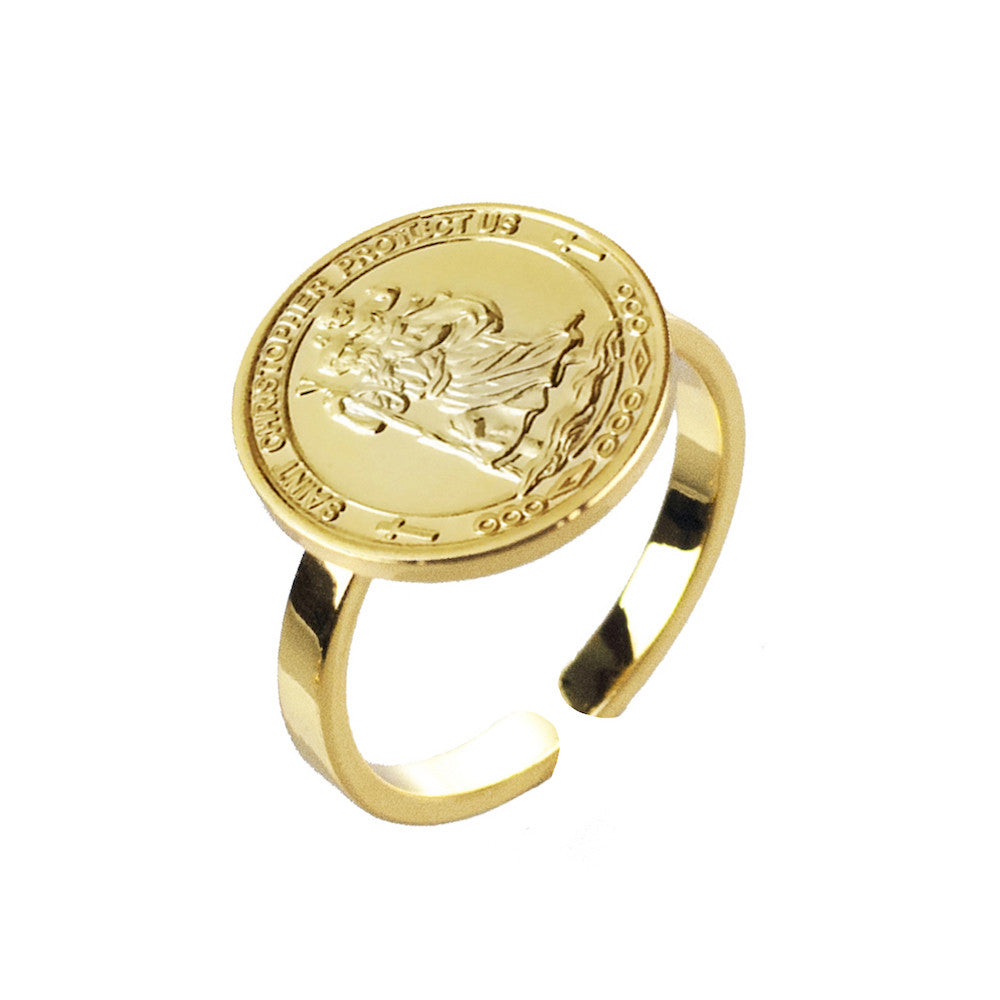 St Christopher Coin Ring - www.sparklingjewellery.com
