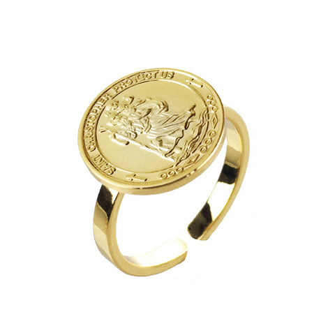 St Christopher Coin Ring