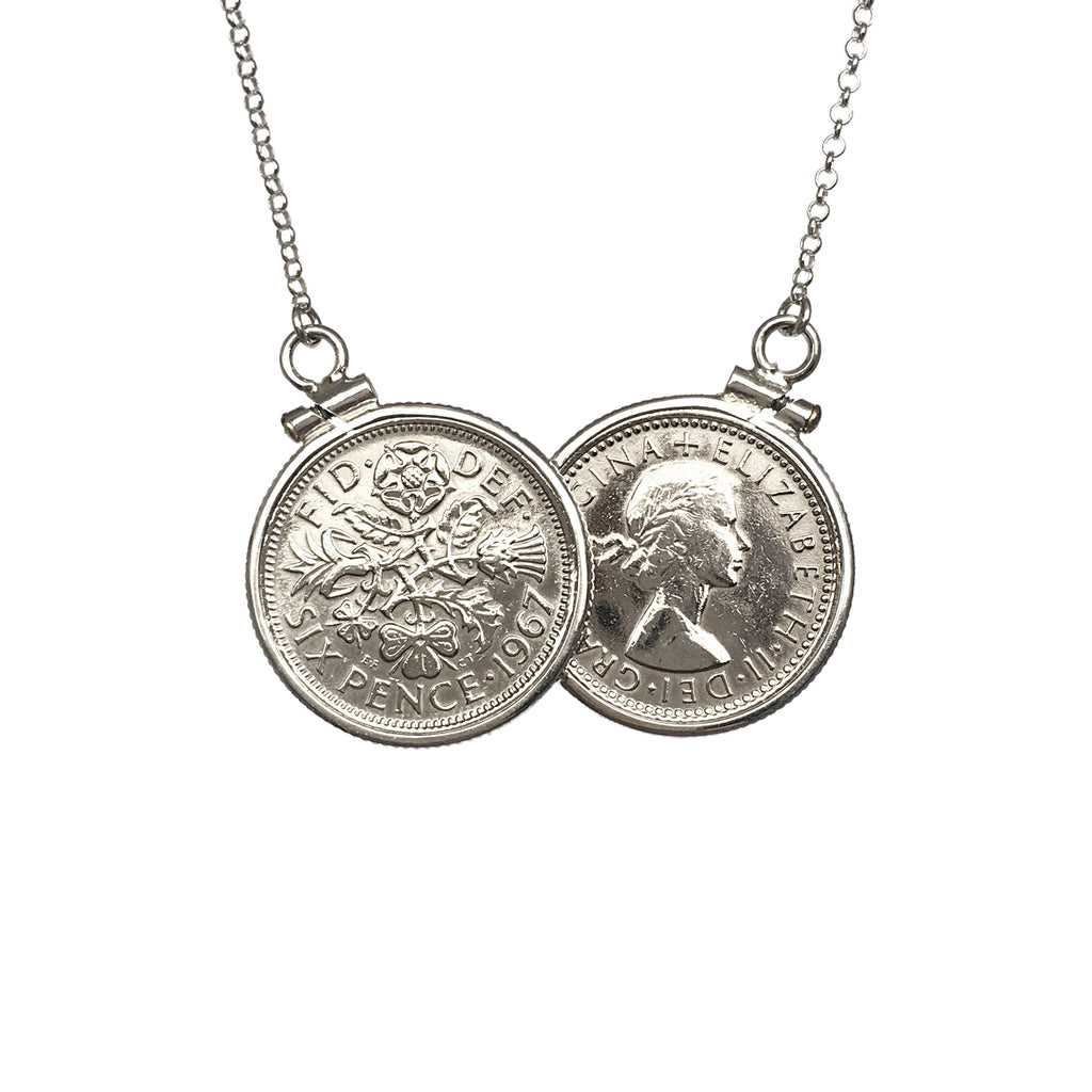Limited Edition 2018 Sterling Silver Six Pence Two Coin Necklace - www.sparklingjewellery.com