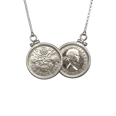 Bespoke Sterling Silver SixPence Two Coin Necklace - www.sparklingjewellery.com