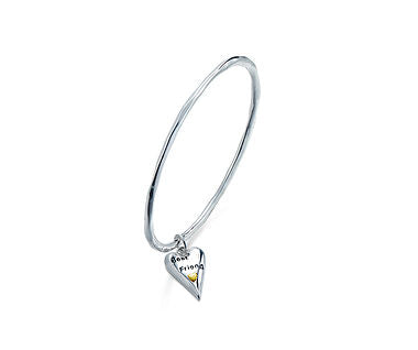 Best Friend Heart Bangle - www.sparklingjewellery.com