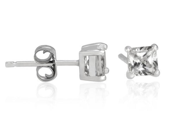 Deal of the Century Princess Cut Sterling Silver Stud Earrings £10.50 - www.sparklingjewellery.com