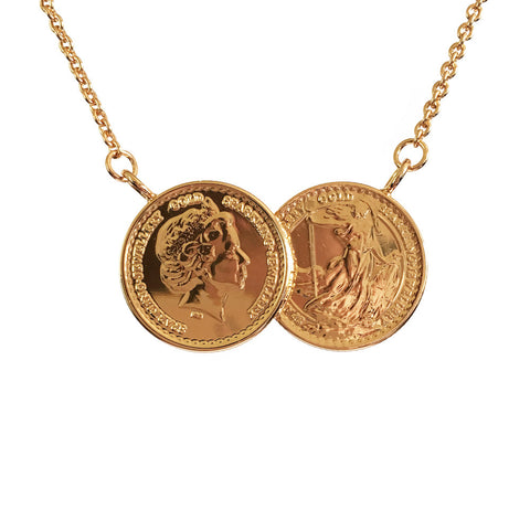 Classic Two Coin Necklace - www.sparklingjewellery.com
