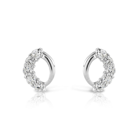 Delicate CZ Silver Earrings