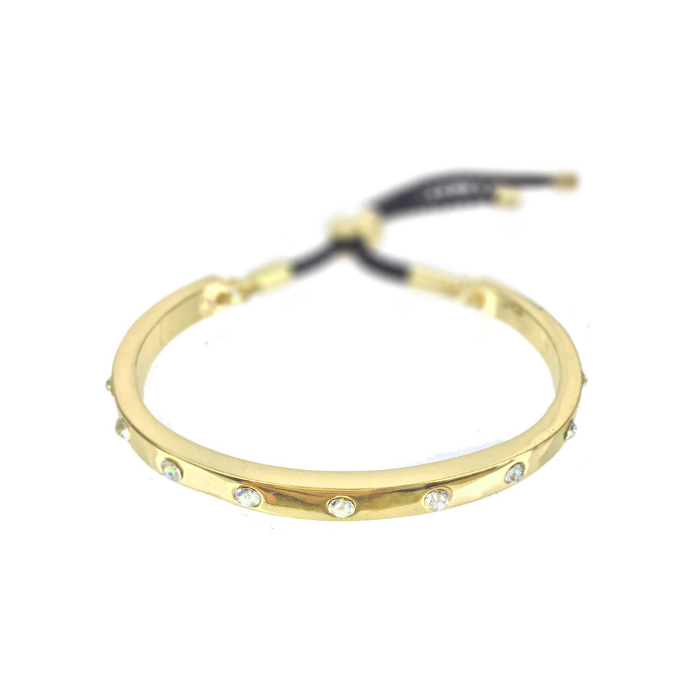 Gold Crystal Designer Bangle - www.sparklingjewellery.com
