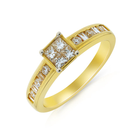 Rubover Princess Cut Diamond Ring