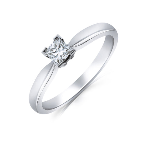 Platinum Princess Solitaire Ring