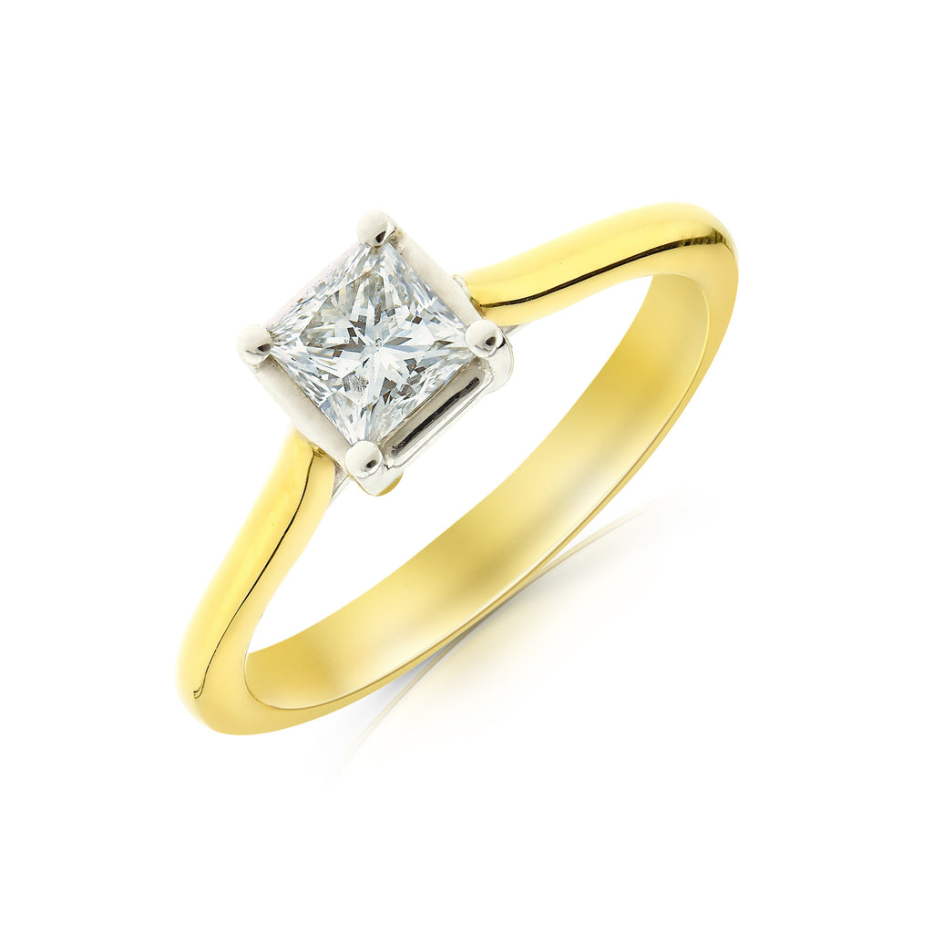 Gold Princess Cut Solitaire Ring - www.sparklingjewellery.com
