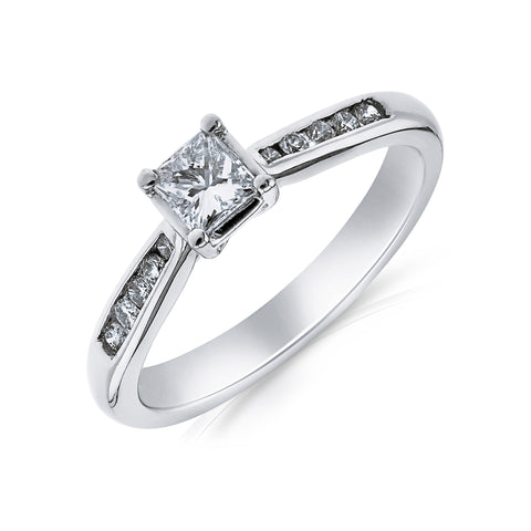 Princess Cut Diamond Engagement Ring - www.sparklingjewellery.com