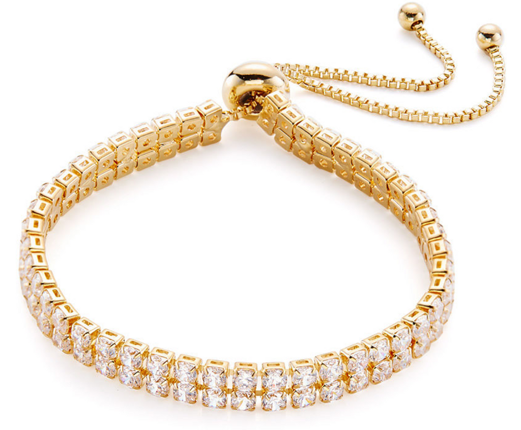 Gold finished Double Row Tennis Bracelet (adjustable) - www.sparklingjewellery.com
