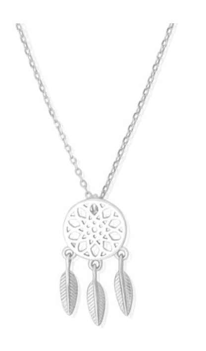 Silver Dream Catcher Necklace - www.sparklingjewellery.com