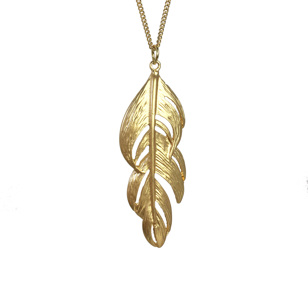 Long Feather From Heaven Necklace GOLD - www.sparklingjewellery.com