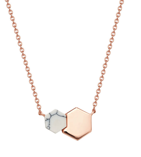 Flat Lay Limited Edition Hexagonal Rose Gold Vermeil Necklace - www.sparklingjewellery.com