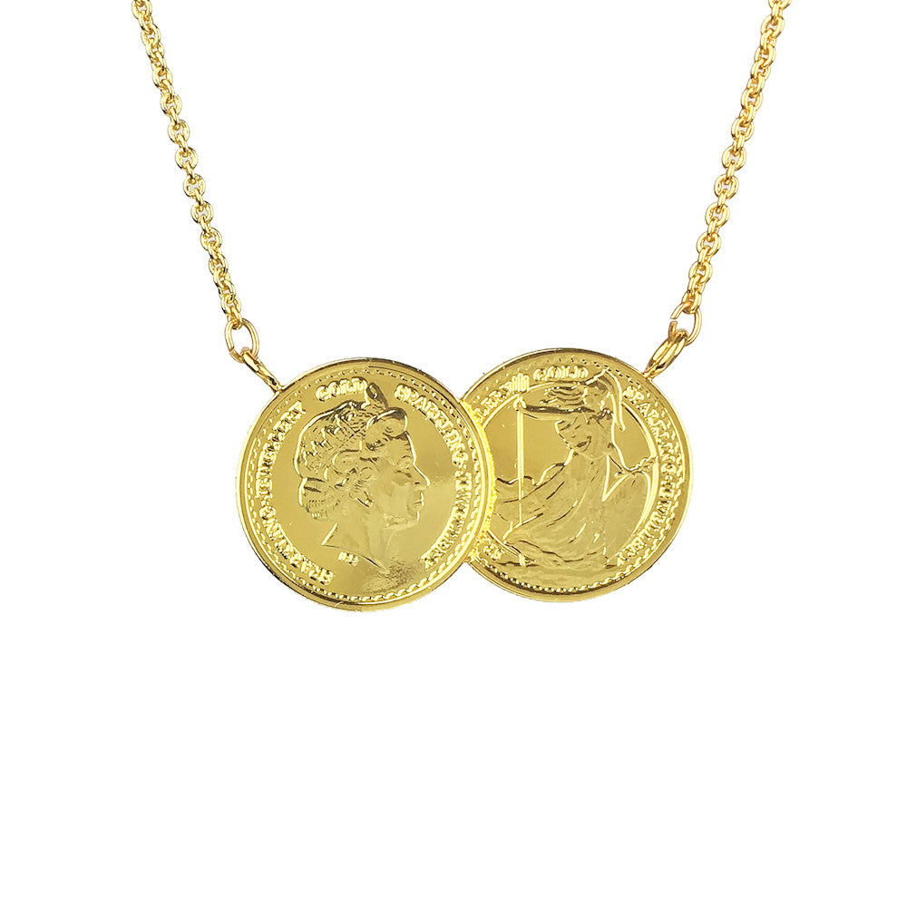Grand Classic Two Coin Necklace - www.sparklingjewellery.com