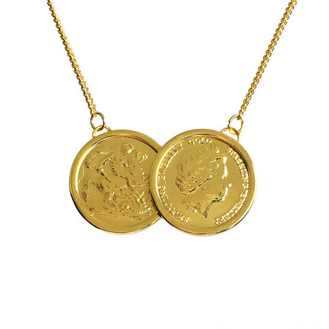 Premium Grand Two Coin Necklace - www.sparklingjewellery.com