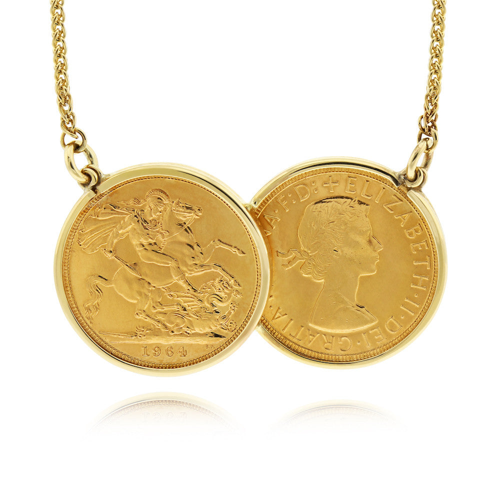 Half Sovereign Two Coin Holly Necklace - www.sparklingjewellery.com