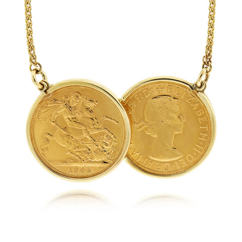 Half Sovereign Two Coin Holly Necklace