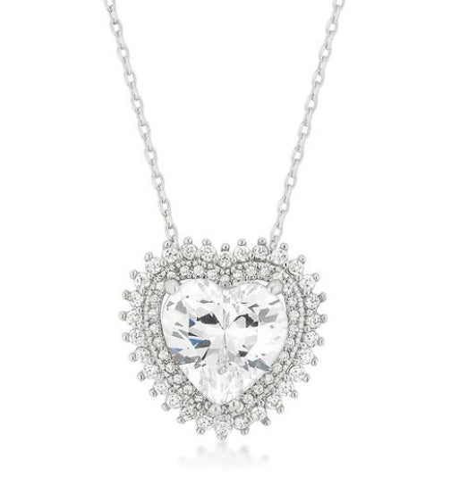 Valentine Halo Silver Heart Necklace - www.sparklingjewellery.com