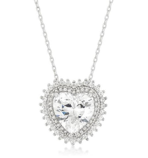 Valentine Halo Silver Heart Necklace