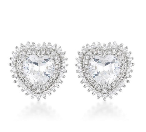 Deluxe Halo Silver Heart Earrings - www.sparklingjewellery.com