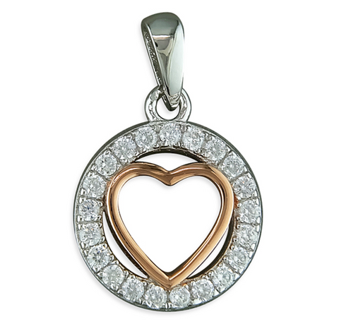 Rose Gold Heart Pendant Sterling Silver