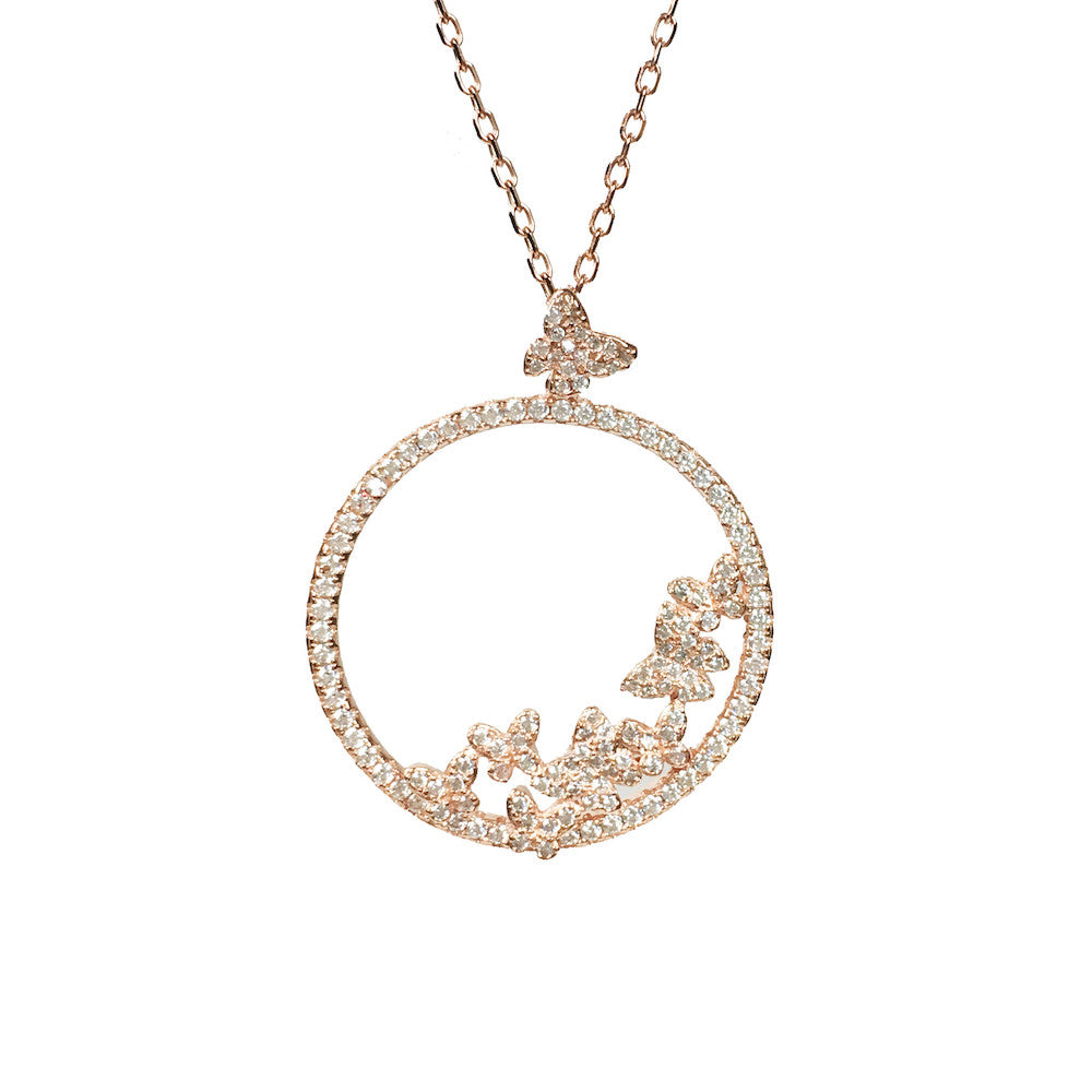 Hoxton Rose Rose Gold Butterfly Necklace - www.sparklingjewellery.com