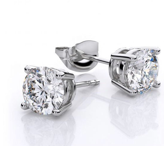 SPECIAL EDITION Real Diamond Stud Earrings White Gold - www.sparklingjewellery.com