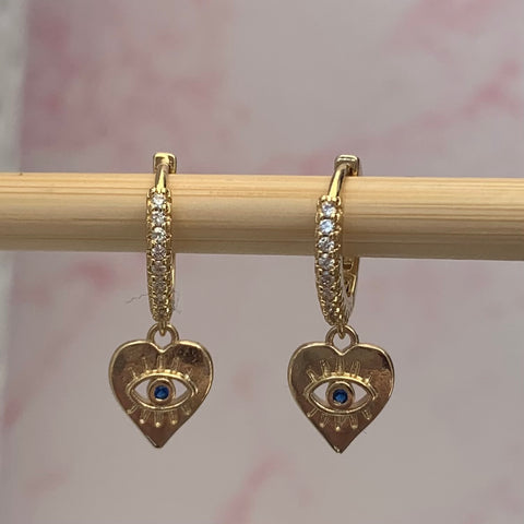 Gold Huggie Heart Earrings - www.sparklingjewellery.com