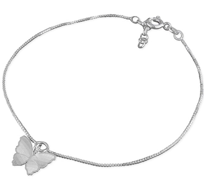 Butterfly Sterling Silver Ankle Chain - www.sparklingjewellery.com